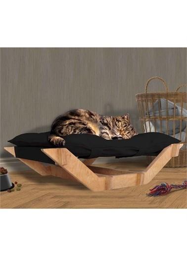 Woodesk Dost Masif Ahşap Siyah Renk Kedi ve Köpek Yatağı Renkli